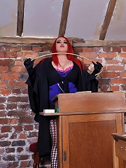 Mistress Jemstone teaches hot teen a lesson in the classroom