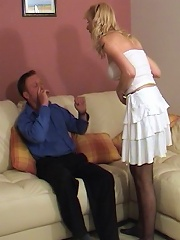 Facesitting by a slut in a garter belt