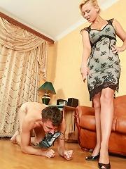 Lady dominates servant