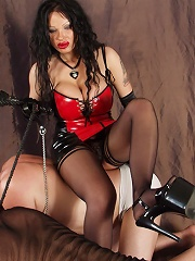 Forced domination of russian mistress over slaves