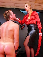 Slave in Bondage Takes Verbal Humiliation and Intense Ass Training From Heavy-Handed Dominatrix