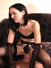 Hot brunette in leather bra slaps her boyfriend