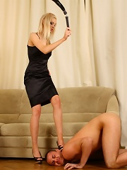 Fascinating slender blonde does whatever she wants with this helpless guy